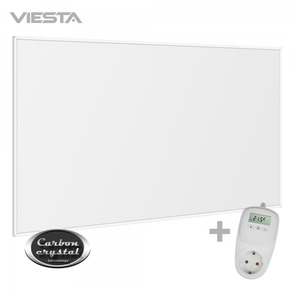 Viesta F780 Infrarotheizung Carbon Crystal (neueste Technologie) Heizpaneel Heizkörper Heizung heating panel ultraflache Wandheizung Weiß - 780 Watt + Viesta TH10 Thermostat
