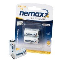 Nemaxx 3V Photo Lithium Batterie CR123A Photobatterie mit 1700mAh Fotobatterie Photo-Batterie Photobatterien Batterien im 2er Pack (1x Blister)